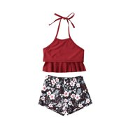 d0b33350c Family Matching Mother Girl Bikini Set Halter Floral Ruffle High Waisted Swimwear  Bathing Suit