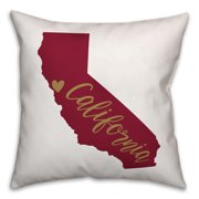 Red and Tan California Pride 16x16 Spun Poly Pillow