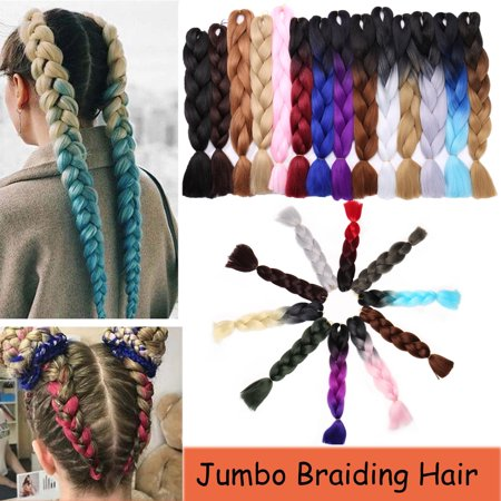 S-noilite 24 Inches Braiding Hair Ombre for crochet Hair Weave with Synthetic and Twist Braiding Hair Extensions dark blue/light purple/pink,100g - Janet Collection Hair Weave