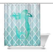 MKHERT Watercolor Mermaid Silhouette With Teal Moroccan Trellis House Decor Shower Curtain For Bathroom Decorative Fabric