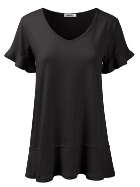Doublju Women's Short Sleeves Flare Tunic Tops for Leggings Flowy Shirt BLACK M
