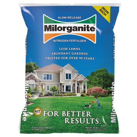Milorganite Slow-Release Nitrogen All Purpose Long Lasting 6-4-0 Fertilizer, 32 lbs