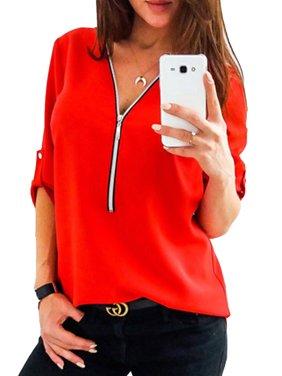 Women Casual Zip Neck Tops Shirt Ladies V Neck Zipper Loose T-Shirt Fashion Summer Blouse Roll-Up Long Sleeve Tee Top