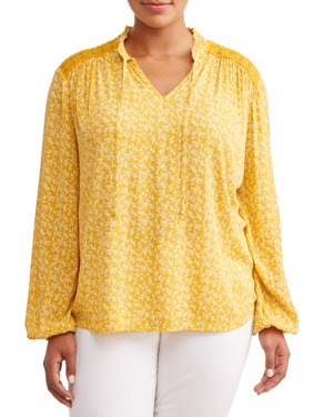 Women's Plus Size Long Sleeve Printed Victorian Blouse
