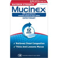 Mucinex Maximum Strength 12 Hour Chest Congestion Expectorant Relief Tablets, 1200 mg, 14 Count, Thins & Loosens Mucus