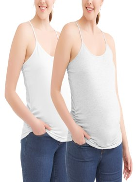 Oh! Mamma Maternity Camisole Tee With Flattering Side Ruching, 2-Pack--Available in Plus-Size
