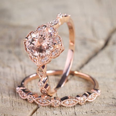 1.50 carat Round Cut Morganite and Diamond Halo Bridal Wedding Ring Set in Rose Gold: Bestselling Design Under Dollar - Round Diamond Bridal Set