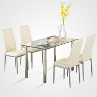 UBesGoo 5 Piece Glass Black Dining Table Set 4 Chairs Room Kitchen Breakfast Furniture