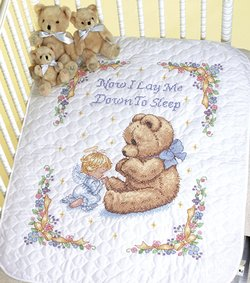 "Dimensions Baby Hugs ""Sweet Prayer"" Quilt Stamped Cross Stitch Kit, 34"" x 43"""