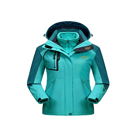 Womens Waterproof Ski Jacket 3-in-1 Windbreaker Winter Coat Fleece Inner for Rain Snow Outdoor - Ladies Womens Ski Jacket