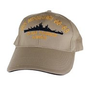 Embroidered USS Missouri Battle Ship cap hat, Khaki