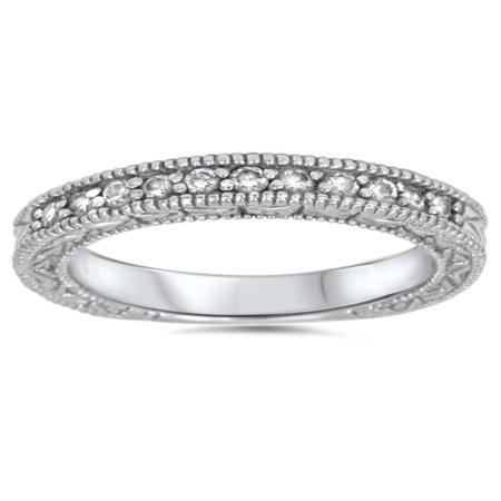 1/3ct Diamond Ring Vintage Antique Wedding Womens Band 14K White Gold Antique Vintage Wedding Bands