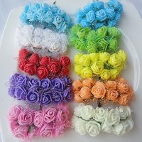 Girl12Queen 144 Pcs Wedding Artificial Flowers Mini Foam Rose Petals Bouquet Wedding Decor