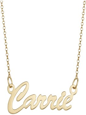 "Personalized Premium Sterling Silver or 14kt Gold over Sterling Hollywood Script Name Necklace, 18"", 1mm thickness"
