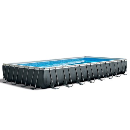 Intex 32ft x 16ft x 4.3ft Ultra XTR Rectangular Above Ground Frame Swimming Pool Set w/ Pump, Gray