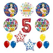 Wonder Woman 14 Pc Superhero 5th Birthday Party Supplies And Balloon Decorations
