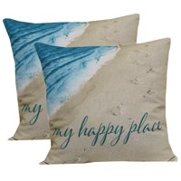 """Mainstays Outdoor Toss Pillow, 16"""" x 16"""", My Happy Place - Set of 2"""