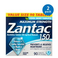 (2 Pack) Zantac 150mg Maximum Strength Sugar Free Cool Mint Ranitidine / Acid Reducer Tablets, 90ct