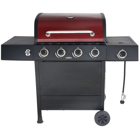 RevoAce 4-Burner Gas Grill with Side Burner, Red