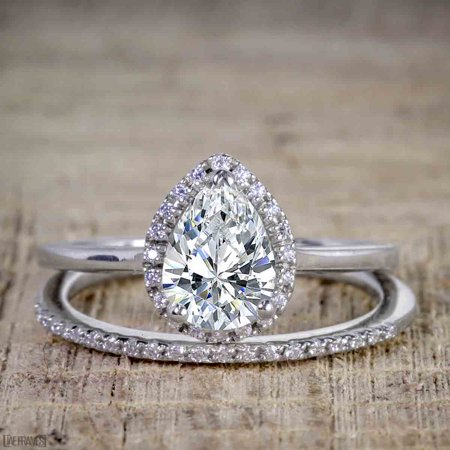 Unique 2 Carat Pear cut Moissanite and Diamond Halo Wedding Ring Set for Her in White Gold](Unique Wedding)