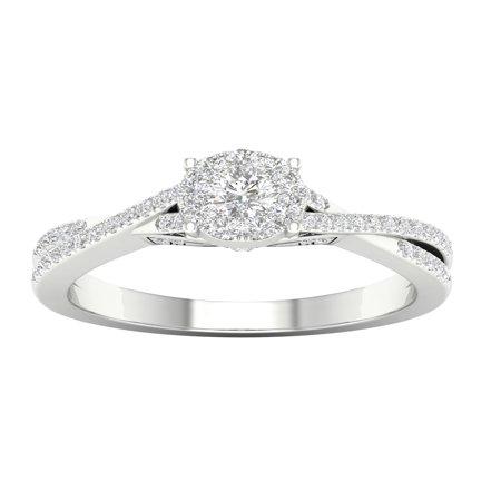 - 1/2 Carat T.W. Diamond 10kt White Gold Criss Cross Engagement Ring