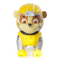 PAW Patrol - Mighty Pups Rubble Figure with Light-up Badge and Paws, for Ages 3 and Up, Wal-Mart Exclusive