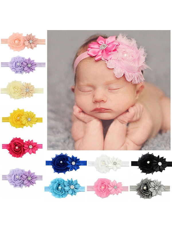 8 Pcs Toddlers Hair Accessories Handmade Diamond Flower Headbands for Baby Girls Baby Haarschmuck