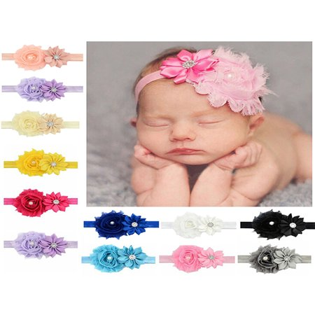 Headband for Baby Girl, Coxeer Cute 12 Pieces Hair Bows Clips Flower Ribbon Hair Accessories For Kids](Halloween Korker Hair Bows)