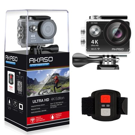 AKASO 4K WIFI Sports Action Camera Ultra HD Waterproof DV Camcorder 12MP 170 Degree Wide Angle, Black