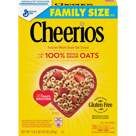 Cheerios Cereal, Gluten Free, Whole Grain Oats, 18 oz
