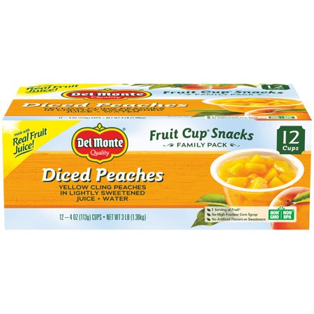 (12 Cups) Del Monte Fruit Cup Snacks Diced Peaches, 4 oz cups (Del Monte Shopping)