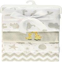 Spasilk 4 Pack Cotton Flannel Receiving Blankets, Grey Animals