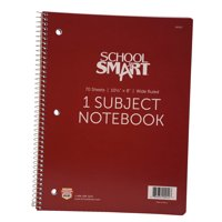 School Smart Spiral Non-Perforated 1 Subject Wide Ruled Notebook, 10-1/2 x 8 Inches
