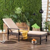 Safavieh Alma Outdoor Rattan Modern Sun Lounger with Cushion