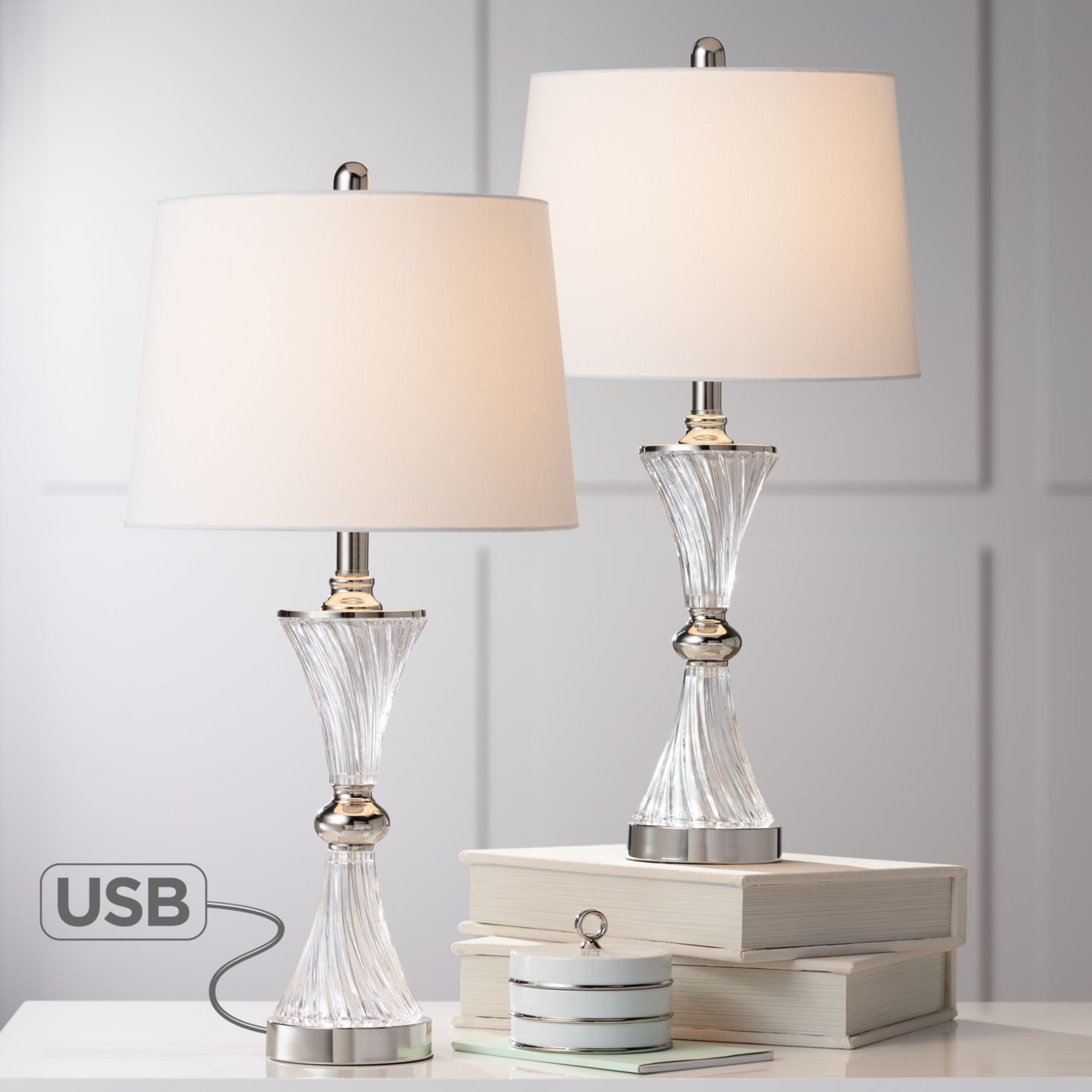 Modern Table Lamps Set Of 2 With Usb Brushed Steel Living