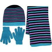 Girl's 3 Piece Knit Hat, Scarf & Gloves Set
