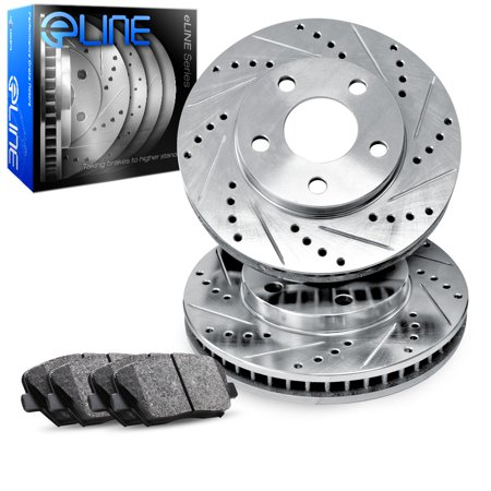 1995 1996 1997 1998 1999 BMW M3 Front eLine Drilled Slotted Brake Disc Rotors & Ceramic Pads