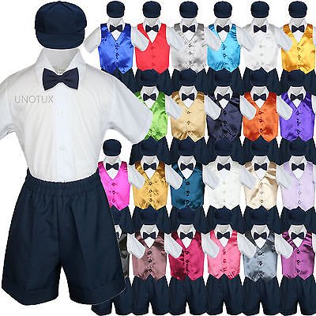 Boys Toddler Formal Vest Shorts Suits Satin Vest Navy Bow Tie Hat 5pc Set S-4T - Gold Navy