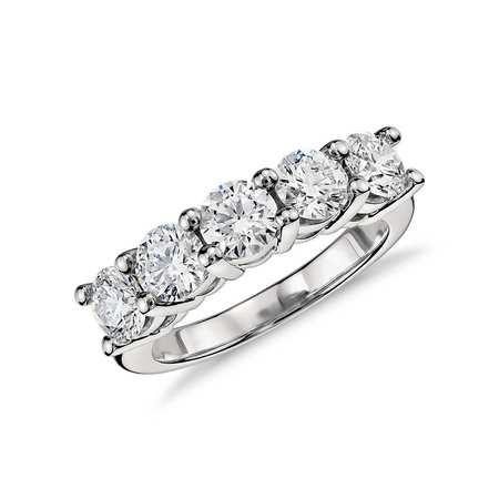 5 dwt Round Cut C&C Forever One Moissanite 5 Stone Anniversary Ring Bridal 14k W Gold