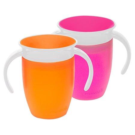 Munchkin Miracle 360 7oz Trainer Cup, BPA-Free, 2-Pack, Pink/Orange ()