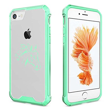 For Apple iPhone Clear Shockproof Bumper Case Hard Cover Horse Head (Mint For iPhone 6 Plus / 6s -