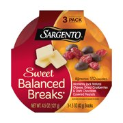 Sargento Sweet Balanced Breaks Monterey Jack Cheese/Dried Cranberries/Dark Chocolate Covered Peanuts Snacks,1.5 Oz., 3 Count