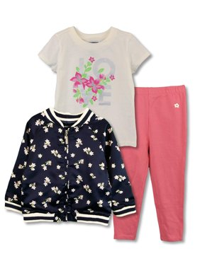 Print Bomber, Graphic Tee and Legging, 3-Piece Outfit Set (Little Girls)