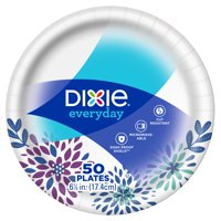 "Dixie Everyday Snack/Dessert Paper Plates 50ct, 7"" size"