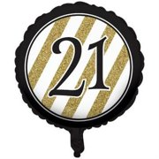 Black And Gold 21st Birthday Foil Balloon 4PK