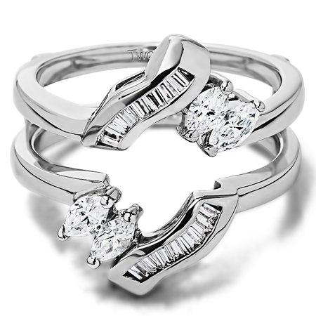 Cubic Zirconia Mounted In Sterling Silver Fancy Twist Style Ring Guard (0.54ctw)