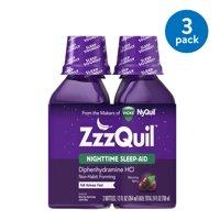 (3 Pack) ZzzQuil Nighttime Sleep Aid Liquid by Vicks, Warming Berry Flavor, 12 Fl Oz, 2 ct