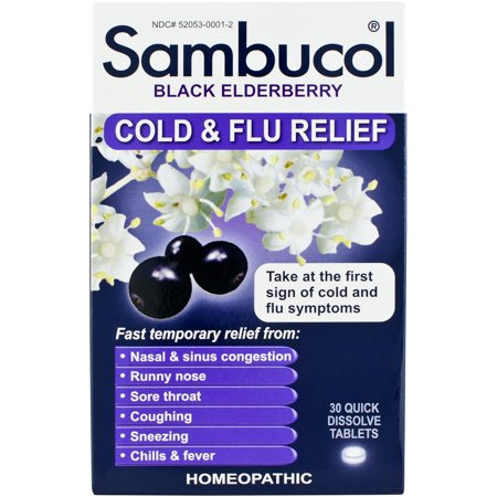 Sambucol Black Elderberry Cold & Flu Relief Quick Dissolve Tablets,