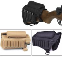 Tactical Rifle Gun Buttstock Cheek Rest with Ammo Pouch Holder for .308 .300 Winmag, Black
