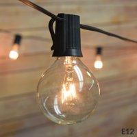 Fantado 25 Socket Outdoor Patio String Light Set, G40 Clear Globe Bulbs, 28 FT Black Cord w/ E12 C7 Base by PaperLanternStore